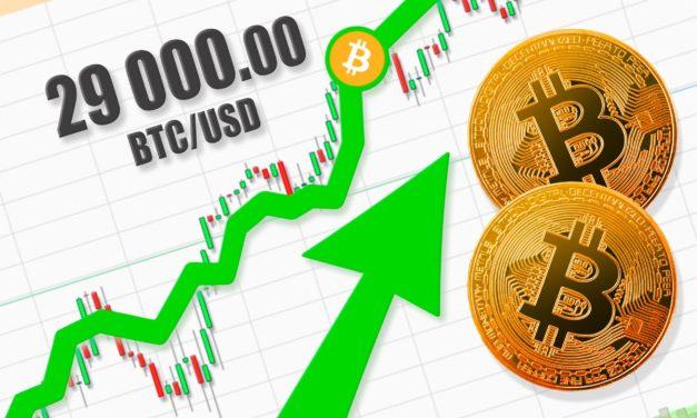 Allzeithoch: Bitcoin-Kurs (BTC) durbricht die 29.000 USD-Marke