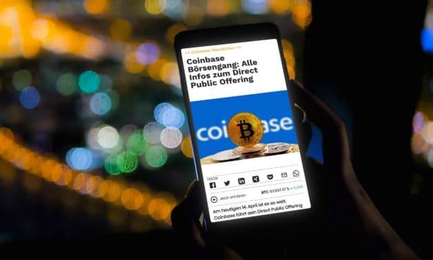 Coinbase Börsengang: Schlusskurs nach kurzer Explosion auf 330 USD